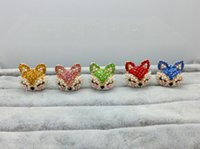 Wholesale bunny plugs resale online - Civet cats cute bunny earphone jack plugs a bag exquisite pearl diamond dust plug phone
