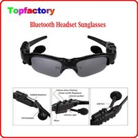 Wholesale Glass Mp3 Colors - Smart Glasses Bluetooth V4.1 Sunglass 4 colors Sun Glass Sports Headset MP3 Player + bluetooth phone Wireless Earphones bluetooth eyeglasses