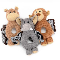 Pet Toys Plush Alta qualidade Cute Monkey Elefante Horse Shape Voice Puzzle Toy Círculo Ring Training 11hy F R