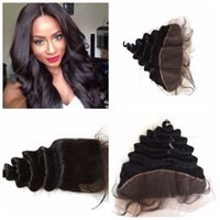Wholesale bleached way part human hair resale online - Free middle way parting malaysian human hair loose wave lace frontal closure bleached knots x4 lace frontal with bady hair G EASY
