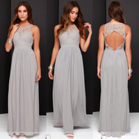 Wholesale Cheap Long Grey Dresses - 2017 Country Cheap Grey Bridesmaid Dresses for Wedding Long Chiffon A-Line Backless Formal Dresses Party Lace Modest Maid Of Honor Dress