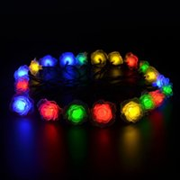 6M 30 LED Solar Powered Rose Flower String Fairy Light para casamento ao ar livre Garden Party Holiday Christmas Decoration