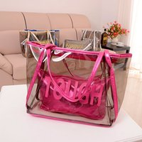 Wholesale Handbag Sweet Candy Bag - Hot Vintage Europe Fashion Women Clear Transparent Handbag Sweet Jelly Beach Bag Candy Colors Shoulder Bags Tote bag