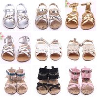 Wholesale Green Color Baby Shoes - DHL Baby Kids Sandals 2016 Baby PU Leather First Walker Shoes Toddlers Gladiator Sandals Infant Summer Tassels Mocassions Shoes