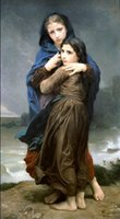 Wholesale William Wall Painting - The Storm by William Bouguereau,Free Shipping , Pure Hand-painted Portrait Art oil painting on canvas For Wall decor in any size customized