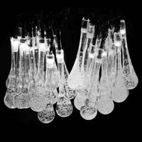 Wholesale Short Fairy Lights - Newest Solar Powered 20 LED Icicle Raindrop String Fairy Light Outdoor Garden Wedding XMas Christmas Tree Decor