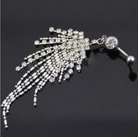 Wholesale Gold Plastic Bells - Rhinestone Tassel Navel Dangle Button Belly Ring Bar Body Piercing Jewelry