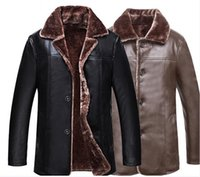 Wholesale Middle Age Men Jacket - High quality pu leather clothes Plus velvet thickening men coat fashion jacket 2018 new lapel Winter clothing Middle-aged man jacket
