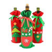 Wholesale kitchen christmas ornaments wholesale - Wholesale- Hoomall Red Wine Cover Bags Tableware Kitchen Decoration Christmas Decoration Party Supplies Christmas Gifts