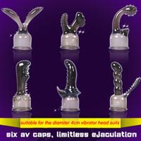 vibrateur baguette violette achat en gros de-6pcs buses en silicone pour capuchon en silicone souple baguette magique magique de vibrateurs, accessoire de jouets sexuels pour adultes