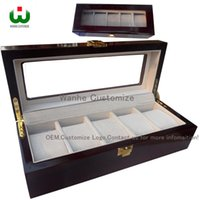 Wholesale Watch Cases China - Luxury China Packaging TOP Boxes Supply 5 Grids Slot Wooden Top Wrist Watch Box Display Case Organizer Jewelry Storage with Glass Window