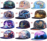 Wholesale Snap Woman - 3D printing caps buddha pattern sports hats baseball cap women men baseball caps fitted snap backs caps fashion hip hop caps 34 styles