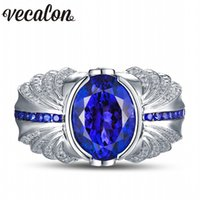 Wholesale 925 Mans Ring Sapphire - Vecalon Vintage Design Men fashion Jewelry wedding Band ring 5ct Sapphire Cz diamond 925 Sterling Silver Engagement Finger ring
