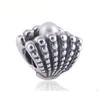 pulsera de perlas de plata esterlina al por mayor-Perlas de agua dulce Perla de concha marina Hilo de cuentas europeo 100% 925 Joyas de plata esterlina para las mujeres Fit Pandora Pulseras Joyería DIY
