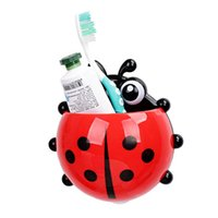 Wholesale Tooth Brush Toothpaste - 1 PC Ladybug toothbrush holder Toiletries Toothpaste Holder Bathroom Sets Suction Hooks Tooth Brush container ladybird on sale