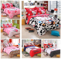 Wholesale Blue Floral Sheet Sets - New Hello Kitty Home Textile Reactive Print Bedding Sets Cartoon Bed Sheet Duvet Cover Set Bedding set