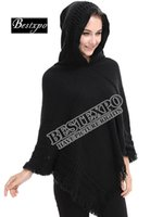 Wholesale Loose Knit Crochet Poncho - Wholesale 2017 New European Woman Hooded Cape Fringed Hem Slim Pure Color Loose Crochet Knitting Poncho Shawl Free Shipping