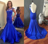 Wholesale High Quality Making Dresses - Sexy Backless Royal Blue Prom Dresses 2016 High Quality Bead Fashion Party Dress Evening Wear Formal Mermaid Real Evening Dress Custom Made