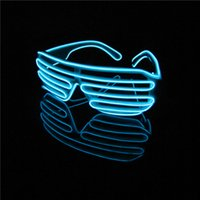Wholesale Party Shades Sunglasses - 2pcs lot NEW voice control Eyeswear Accessory Light Up Shutter El Wire Glow Shades EDM EDC Rave Party Striped Lighted Sunglasses