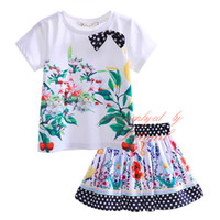 Wholesale Skirt White Short Wholesale - Pettigirl 2016 Flowers Print Girls 2PCS Cotton Clothing Set Short Sleeves Tops+White And Black Dot Skirt Baby Kids Casual Suits CS81215-5L