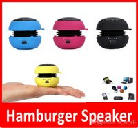 Wholesale Hamburger Loudspeaker - Mini Portable Speaker Stylish Loudspeakers Mini Hamburger HiFi USB Stereo Speaker For Mobile Phone iPad MP3 MP4 Player Free Shipping