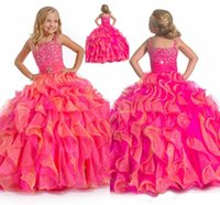 Wholesale girl dress images price resale online - Fuchsia Beading Straps Sparking Floor Length Ball Gown Ruffled Children Communion Dress Cheap Price New Fashion Style HY1197