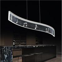 Wholesale Music Kitchen - Music note design modern led pendant light for dining room Living room lampara colgante de techo 19W home lighting pendant lamp fixture