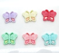 Wholesale 50Pcs Resin Mixed Butterfly Flatback Cabochon Scrapbook x17mm