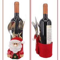 Wholesale Wine Box Designs - New arrival Santa Claus Snowman wine bottle and tableware bag, Unique design Christmas supplies, gift box wine bottle cover