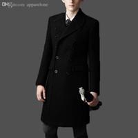 Wholesale Mens Dust Coats - Fall-New Brand bakham Long trench coat wool coat Winter peacoat 2015 Men's Dust Coat mens clothing overcoat men's coats # A4423