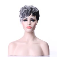 Wholesale Wig Gray Short - Freeshipping in same day New Arrival Hot Gray Short Straight Synthetic Woman's Gray Hair Wig Africa American Wigs