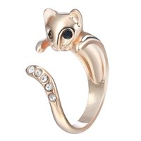 Wholesale Silver Wedding Ring Wrap - 10pcs lot Beautiful CZ Diamond Cat Animal Wrap Rings Gift for Women and Girls Unique Ring Fashion Jewelry