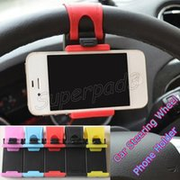 Wholesale Pda Devices - Universal Car Steering Wheel Phone Holder Mount For Mobile Phone PDA GPS MP4 MP5 Device Stand Bracket Width Max 85cm With Retail Package