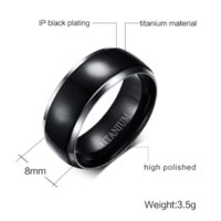 Hommes Titanium Rings Black Men Engagement Wedding Rings Vnox Bijoux USA Taille 100% Titanium Carbide Cheap ring spacer jewelry