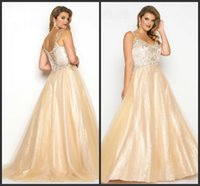 Wholesale Spark Light - Floor Length Golden Evening Dress Plus Size Cheap Crystals Sparked Elegant V Neck Lace Up Back Sleeveless High Quality Prom Dress Sexy