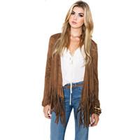 kahverengi uzun kollu paltolar toptan satış-Toptan-Yeni 2017 Kahverengi Uzun Kollu Kadın Sonbahar Ceket Hırka Faux Deri Püskül Ceket Rahat Temel Ceketler Chaquetas Mujer S2704
