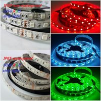 Wholesale Leds 12v Free Shipping - free shipping 5050 SMD RGB 12V Waterproof IP65 Non-waterproof IP20 Led flexible strips light 300 Leds 5M double side good quality