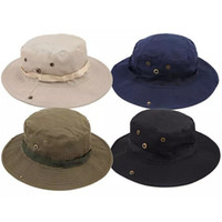 Wholesale Christmas Ties Bands - 2017 New Men Solid Military Hat With Band Round Brim Chin Strap Fishing Cap Camping Hunting Bucket Caps Sun Protection