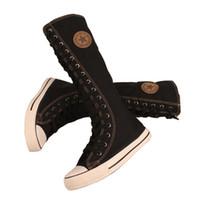 sapatilhas botas botas joelho alto venda por atacado-Mulheres botas de inverno sapatos mulher botas mujer invierno 2016 moda das senhoras das mulheres de lona lace up apartamentos zip na altura do joelho botas de cano alto tênis
