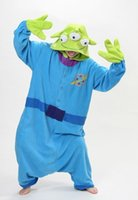 Wholesale Alien Carnival Costumes - SS Squeeze Toy Aliens jumpsuit Little Green Adult Unisex Onesie three eyes pajamas