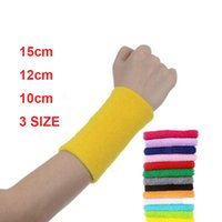 Wholesale Terry Cotton Wristbands - 3SIZE New Style 11 Color Wrist Sweatband Support Terry Cloth Cotton Protection Sweat Band Wristband Sport Yoga Running Women Men