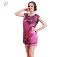 Wholesale Cute Sexy Pajamas For Women - Wholesale-New Fashion Summer Silk Women's Pajamas For Home Clothing Cute Lovely Print Lace Sexy Dressing Gowns For Women 10207