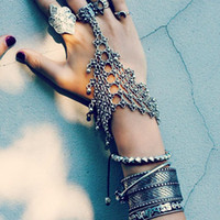 Wholesale Chic Plates - New Fashion tribal chic turkish alloy silver Plated floral design boho bracelet Cuff Coin Bracelets Retro Layer Tassels Ring Bracelet Chains