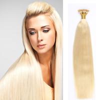 Wholesale European Hair Extensions I Tip - Strong Adhesives I Tip Human Hair Extensions Hair Remy Straight Bundles Weave On Adhesives European Hair Blonde 50g-100g
