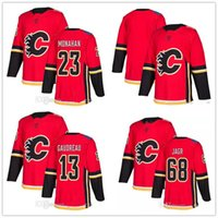 Wholesale Flame Logo - 2017 2018 New Calgary Flames 68 Jaromir Jagr 13 Johnny Gaudreau 23 Sean Monahan Home Red Hockey Jerseys 100% Stitched Embroidery Logos