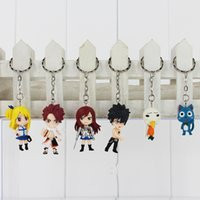 Wholesale Lucy Fairy Tail - Fairy Tail keychain Figure Model and Retail (6 pcs set) Natsu Happy Lucy Gray Elza Fairy Tail Toy Action Figures
