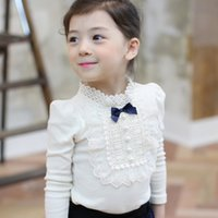 Wholesale White Gauze Top - Girls T-shirt kids hollow lace collar BOWS long sleeve princess tops children pearl gauze floral embroidery falbala bottoms blouses R0152