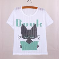 Wholesale Low Price Clothing Free Shipping - Reading cat print girls tops tees 2016 fashion summer dress new fabric short sleeve women t-shirts low price wholesale clothes free shipping