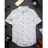 Wholesale Crown Shorts - Wholesale-2016 Fashion Mens Cotton & Linen Casual Shirts Summer Crown Star Printed Short Sleeve Dress Shirts White Chemise Hommes WS967