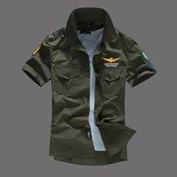 bottes pour hommes achat en gros de-Mens Pilot Shirts Manches Courtes Chemises Casual Turn-Down Col MA1 Avion Tops Fashion Tees Vêtements